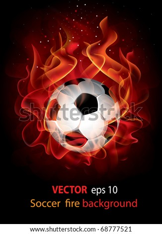 Vector editable fantastic football background with a flaming soccer ball - stock vector