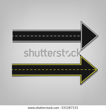 Vector editable illustration of an abstract road direction arrows with road surface marking in white and yellow colours. Useful for transportation, travelling and business design. - stock vector