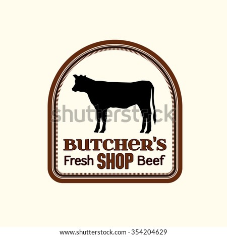 Vector editable illustration of beautiful butchery logotype. Useful for butcher shop logo designs, labels, badges and design elements.