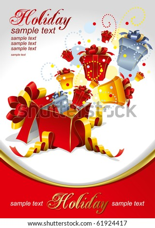 Vector editable illustration of gifts for Holidays - stock vector