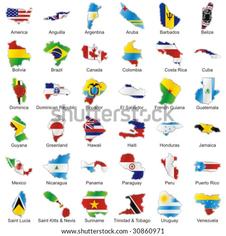 vector editable isolated american flags in map shape with details