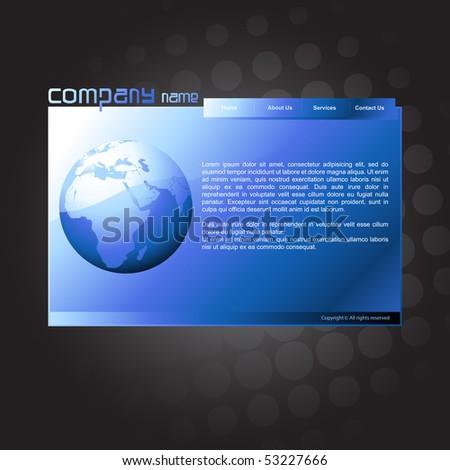 vector editable website blue template - stock vector