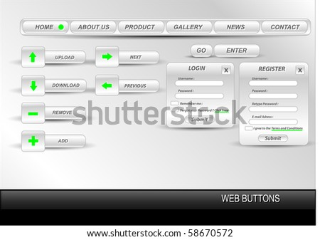 Vector editable website buttons. - stock vector