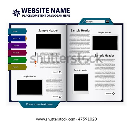 vector editable website design - book template - stock vector