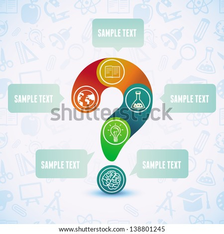 Vector education concept - design template with question sign and copy space for text - stock vector