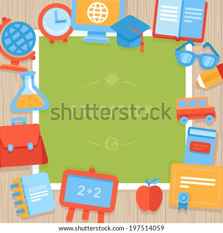 Vector education greeting card - paper card with bright flat school icons - stock vector