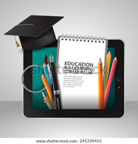 Vector Education school university e-learning concept with tablet - stock vector