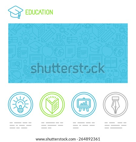 Vector educational design template  in trendy mono line style - website header and icons - stock vector