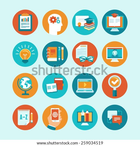 Vector educational icons and signs in flat style - online education concepts and illustrations for internet trainings and webinars - stock vector