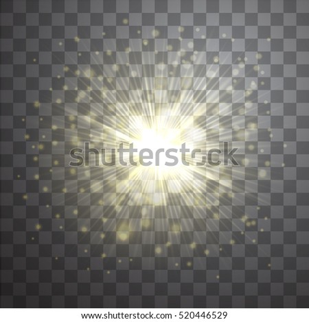 Vector effect of golden lens flare sunburst on transparent background