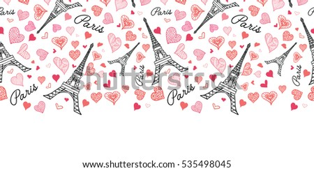 Vector Eifel Tower Paris Seamless Repeat Pattern Horizontal Border Bursting With St Valentines Day Pink Red Hearts Of Love. Perfect for travel themed postcards, greeting cards, wedding invitations.