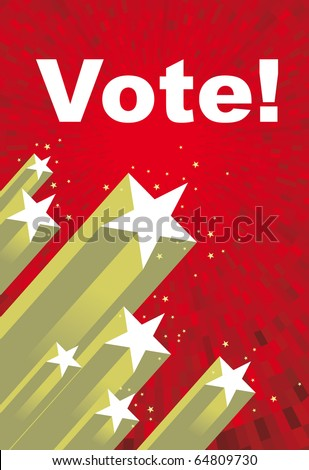 Vector Election red shine background with stars and vote text - stock vector