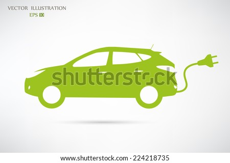 Vector Electric Car Green and Light Background Icon - stock vector