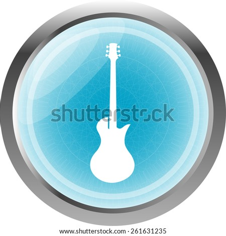 vector electric guitar icon button isolated on white