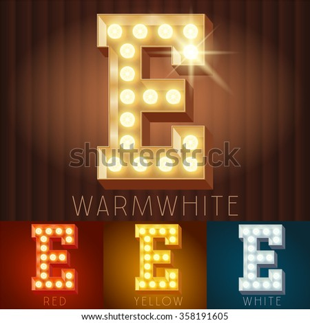 Vector electric light up lamp alphabet in hard font. Letter E - stock vector