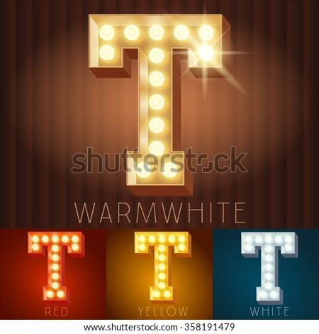 Vector electric light up lamp alphabet in hard font. Letter T - stock vector