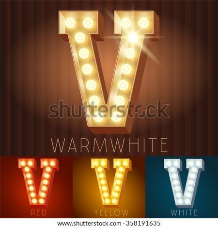 Vector electric light up lamp alphabet in hard font. Letter V - stock vector