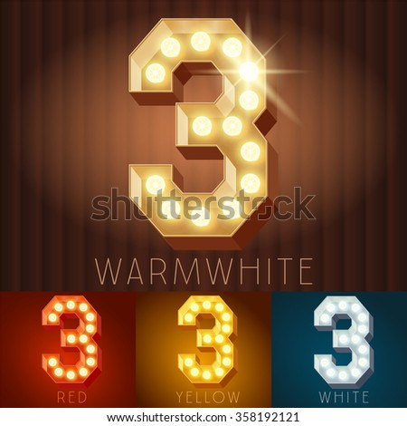 Vector electric light up lamp alphabet in hard font. Number 3 - stock vector