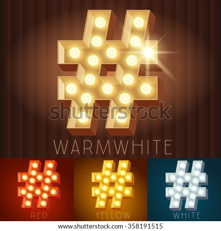 Vector electric light up lamp alphabet in hard font. Symbol 3 - stock vector