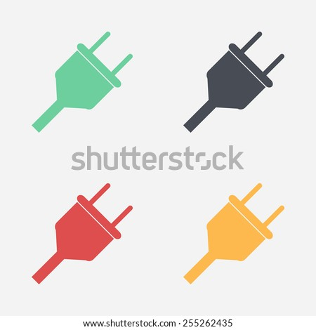 Vector electrical plug web flat icon. - stock vector
