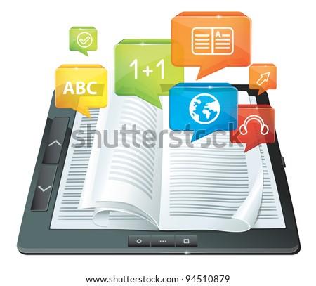 vector electronic book concept - stock vector