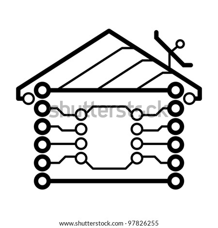 Vector electronic circuit board house logo - stock vector