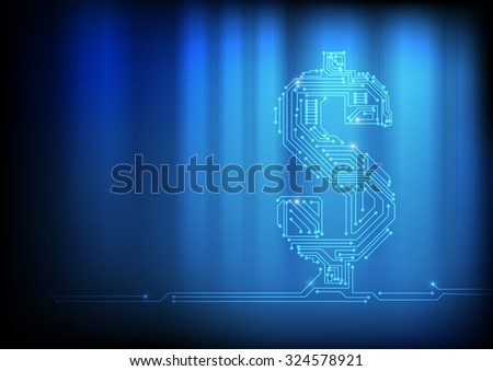 Vector : Electronic circuit in dollar symbol on technology background - stock vector