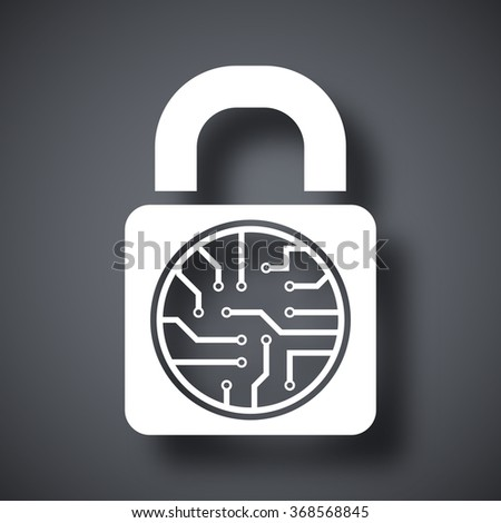 Vector electronic lock icon - stock vector