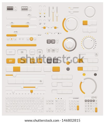 Vector electronic User interface design elements set - control switches, sliders, knobs, buttons and keyboards - stock vector