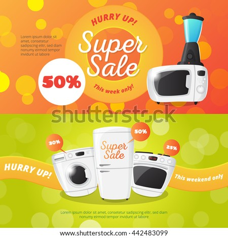 Vector electronics discount voucher templates. Bright sale banners with kitchen appliances. - stock vector