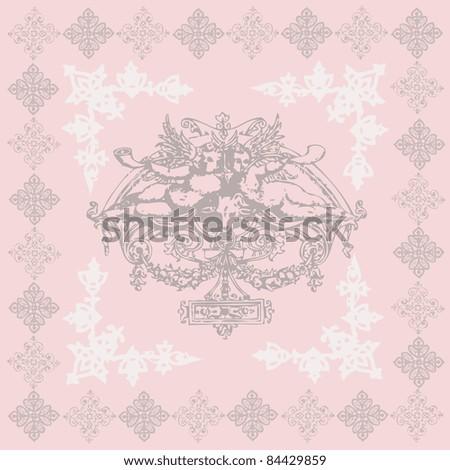 vector elegant and romantic vintage card design, illustration background with angels ( Invitation frame) - stock vector