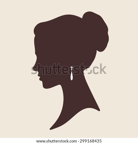 Vector elegant bride face silhouette - stock vector