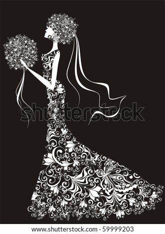 Vector elegant bride, hairdress and dress decorated with flowers - stock vector
