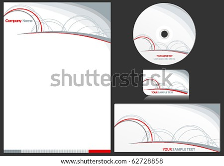Vector elegant business stationary set - stock vector