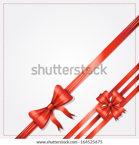 Vector elegant card with gift bow and ribbon background illustration - stock vector