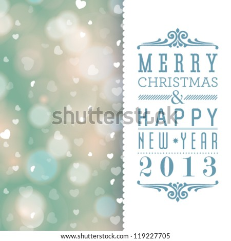 Vector elegant Christmas card with hearts and place for text. - stock vector