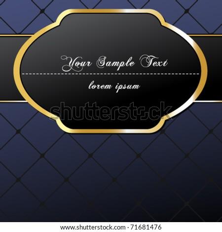 Vector elegant, dark, gold-framed label illustration - stock vector