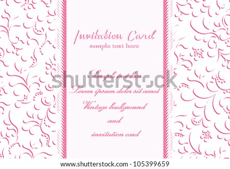 Vector elegant flower invitation card. Ornament background with floral illustration.