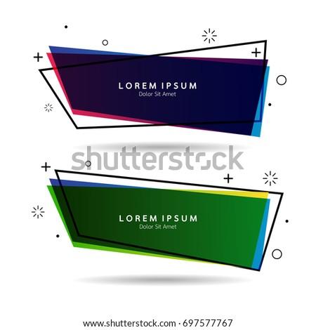Vector Elegant Geometric Banners Set Text Stock Vector 697577767