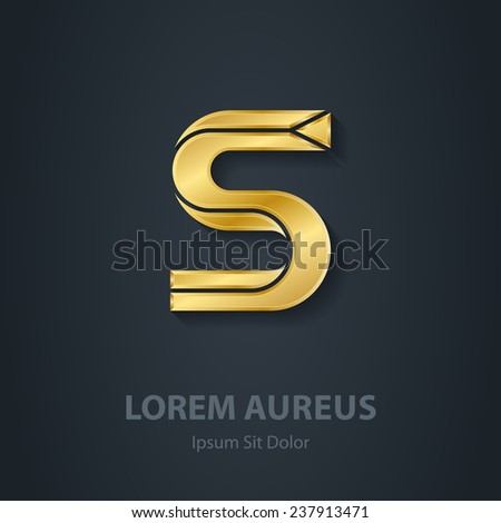 Vector elegant gold font. Letter S. Template for company logo. Design element or icon. - stock vector