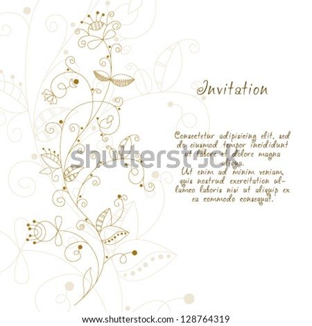 Vector elegant hand drawn floral invitation, wedding or gift card. - stock vector