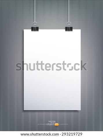 Vector element for design with a piece of paper hanging on  striped wall - stock vector