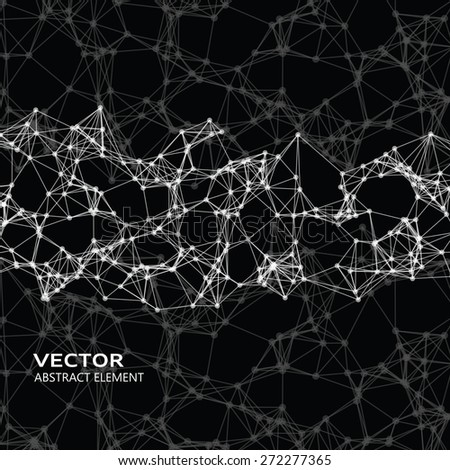 Vector element of white abstract cybernetic particles on black background