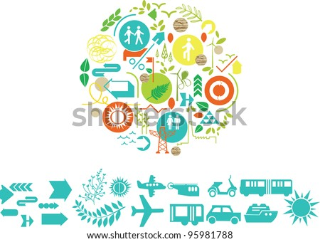 vector, elements composition with bank elements you can modify - stock vector