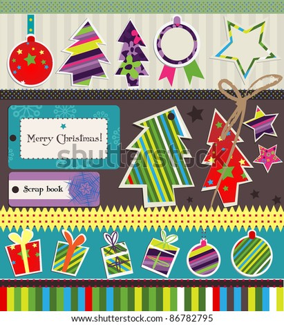 Vector elements for Christmas card. - stock vector