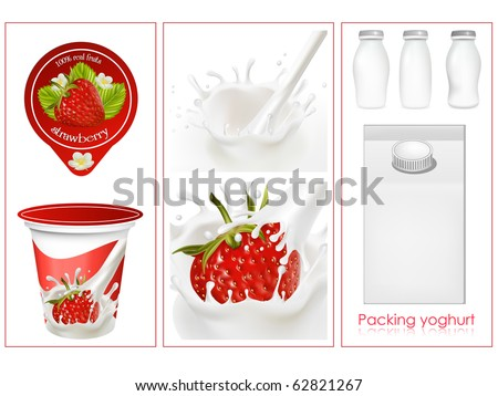 Vector. Elements for design of packing milk dairy. Milky splash. Ripe strawberry.