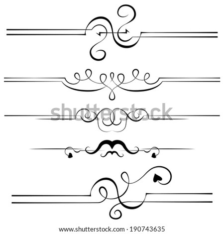 vector elements for design pages. set of five borders - stock vector