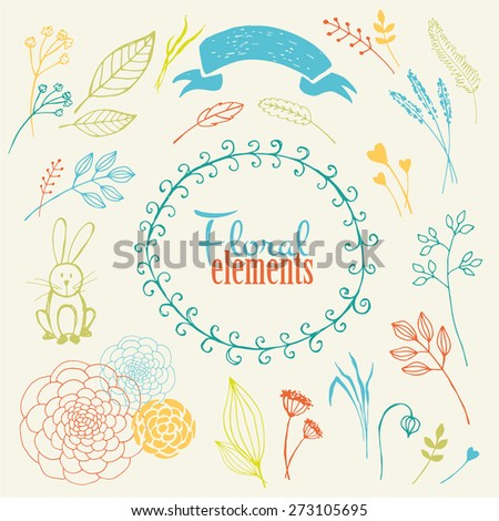 Vector elements. Handmade floral icons - stock vector