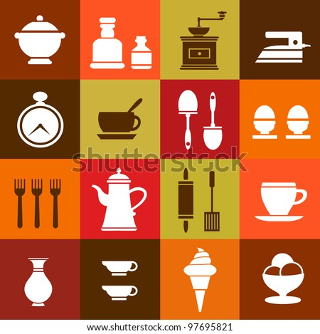 Vector elements of household items on a colorful background - stock vector