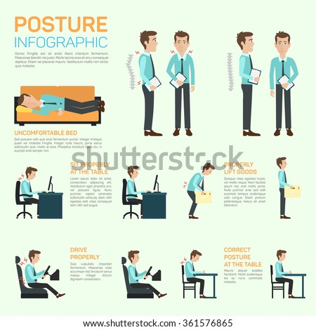 Vector elements of improving your posture. Sitting properly at the table, lift goods, drive, correct posture at the table. Concept of long and healthy life - stock vector